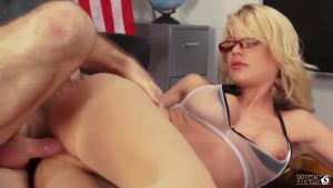 The director skilfully runs a new sexy schoolteacher with glasses