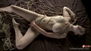 Stephanie is more comfortable masturbating bound